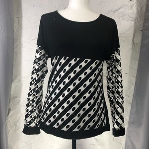 Picadilly Long Sleeve Black & White Top